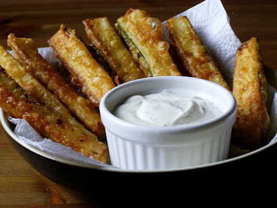 beer battered zucchini sticks with vegan ranch style dip
