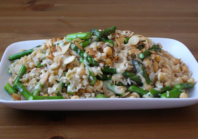 Asparagus, Almond and Chickpea Brown Rice with a Lemon Tahini Dressing