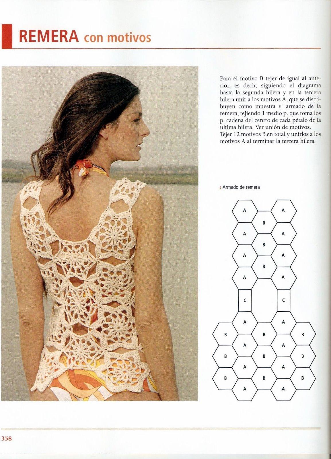 Remeras caladas al crochet patrones - Imagui