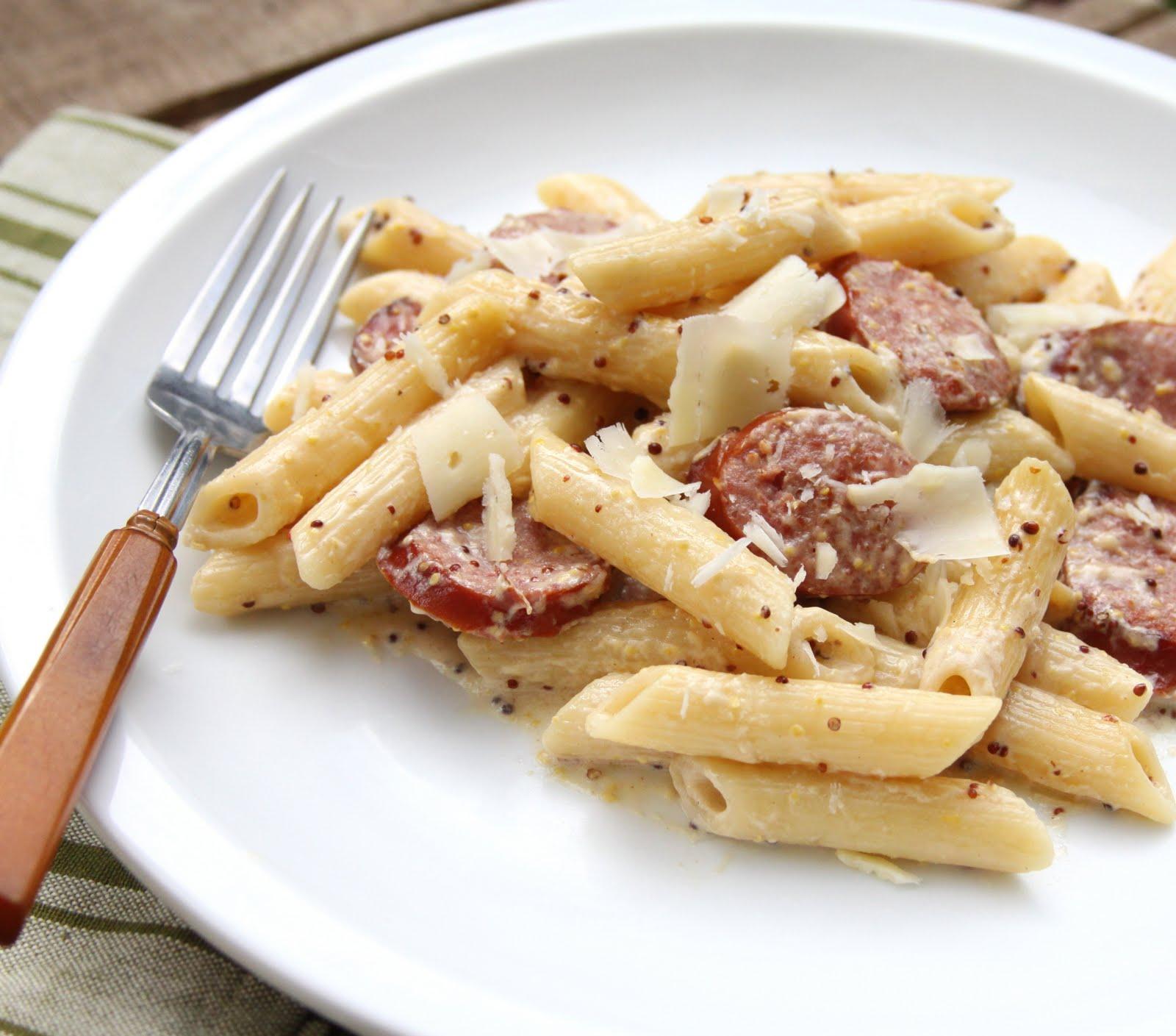 Restaurant Style Pasta At Home Sausage W Mustard Cream Sauce Simple Saay