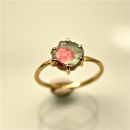 Watermelon Tourmaline Ring Big Diamond Cut Sterling Vermeil Sz 8.5 Fine