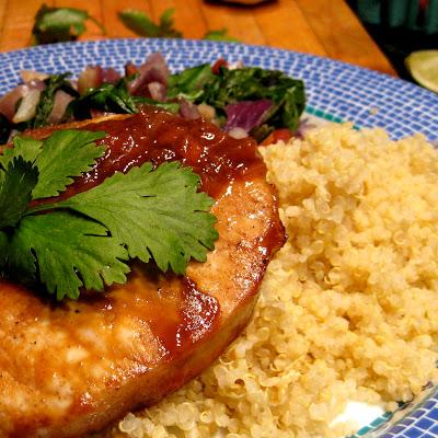 rhubarb gastrique pork chop quinoa