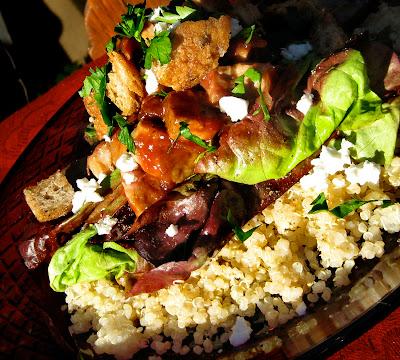 quinoa rhubarb gastrique salad
