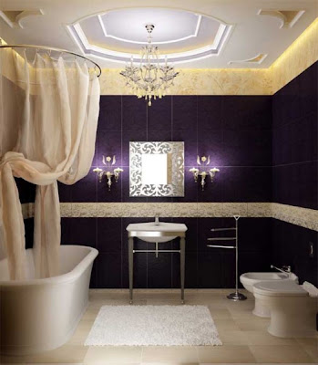 Ultra-luxury-marvelous-bathroom-with-bathtub-with-curtains-wash-basin-witn-amazing-mirror-and-tiolet-and-bidet