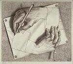 """MANOS DIBUJANDO"" litografía (1948) de M.C. ESCHER"