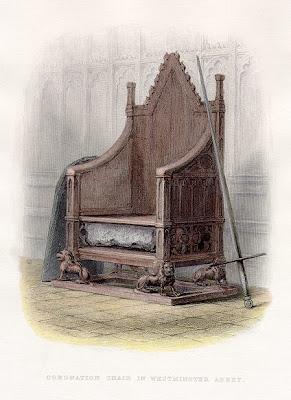 Silla de la coronación con la piedra de Scone
