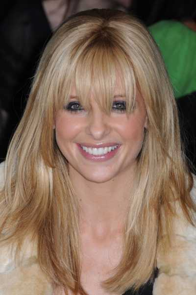 Long Blonde Highlighted Hair with Bangs