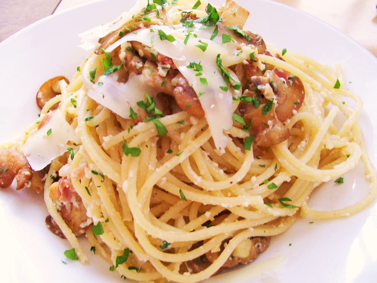 Pasta alla Carbonara with Mushrooms
