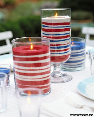 red white and blue sand candles