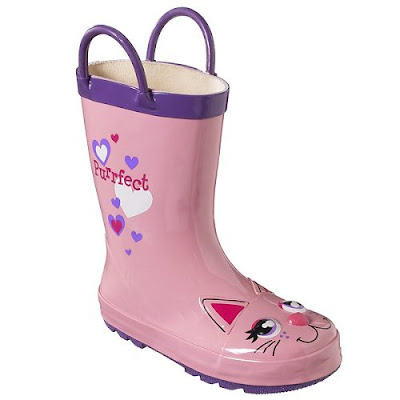 Scarlett has outgrown her Kittie Cat rain boots, size extra small, 5/6.