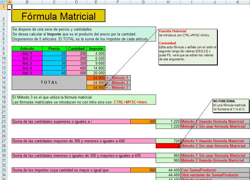 ExcelAvanzado.com: Funciones matriciales en Excel