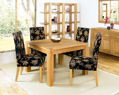 Iyon Oak Square Dining Set with Floral Chairs from Furniture 123