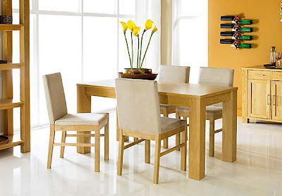 Calla Oak Extending Dining Set with Upholstered Chairs from Furniture123