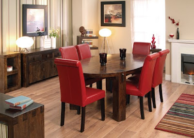 Malaya Mango Oval Dining Set with Leather Chairs from furniture123