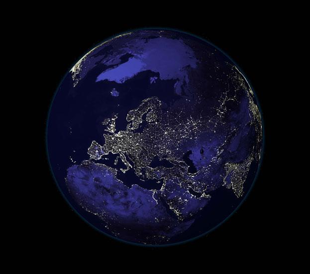 Tierra de noche.