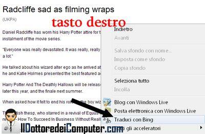tradurre pagine in italiano con bing