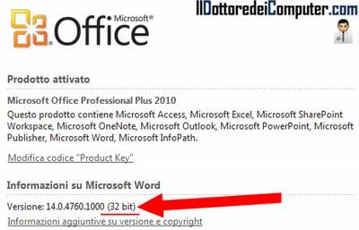 vedere se la versione di Office è a 32bit o 64bit