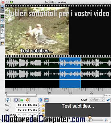 editor sottotitoli filmati