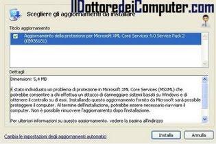 Aggiornamento della protezione per Microsoft XML Core Services 4.0 Service Pack 2