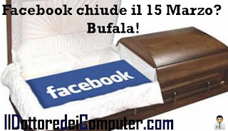 facebook chiude il 15 marzo bufala