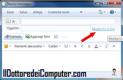 mostrare windows live mail campo ccn