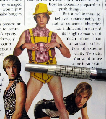 Pentel Mechanica mechanical pencil on background of gay lederhosen
