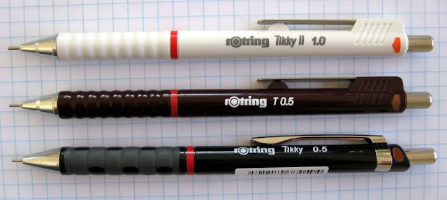 old and new Rotring Tikky mechanical pencils
