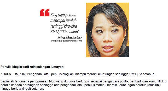 Blogger mampu dapat RM 1 juta