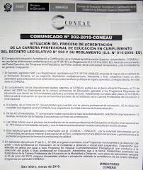 COMUNICADO Nº 002-2010-CONEAU