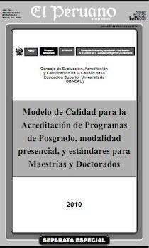 MODELO DE LA CALIDAD POST GRADO Y ESTABDARES MAESTRIA ,DOCTORADO