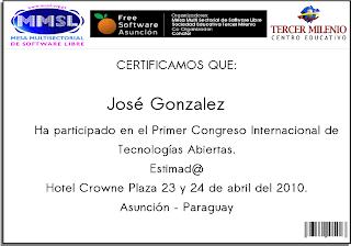 Imagen del certificado Free Software Asunción 2010
