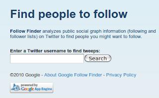Imagen de la página principal de Google follow finder