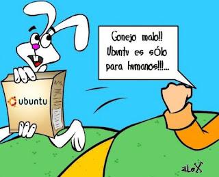 Imagen del conejo trix robándose a Ubuntu