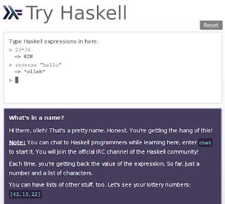 Imagen de un tutorial online de haskell