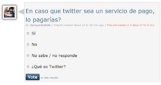 Imagen de una encuesta sobre si twitter se convierte un servicio de pago