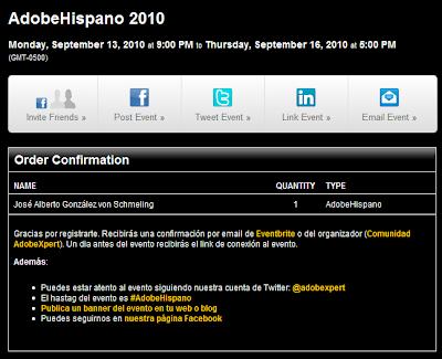 Imagen del registro de una charla online de Adobe Hispano