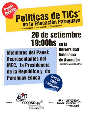 Imagen del afiche del Panel/debate políticas de TICs en la educación paraguaya