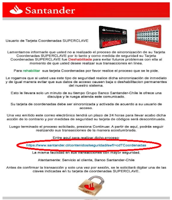 Imagen del phishing del Banco Santander de Chile