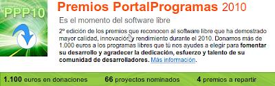 Imagen de la página web de la votación del mejor software libre 2010
