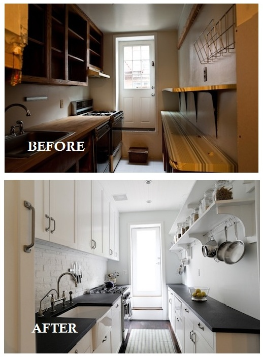According to lia july 2010 for Galley kitchen remodel before and after
