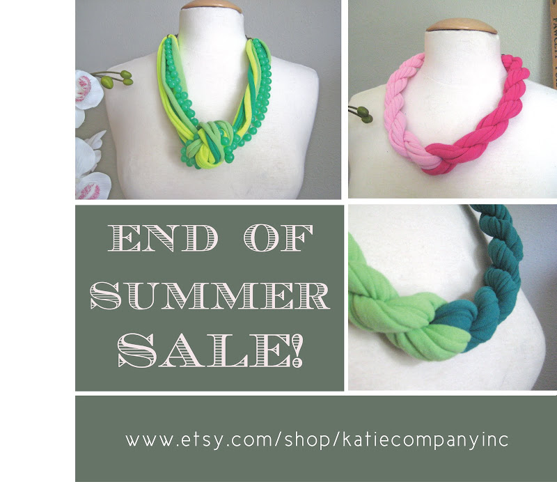 katie company, sale, jersey necklace, recycled necklace, end of summer