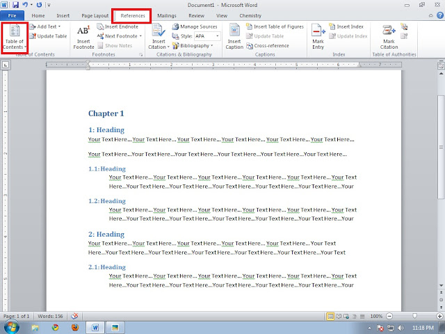 word 2010 how to make table of contents
