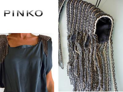Bijoux épaulettes en chaines et perles, PINKO