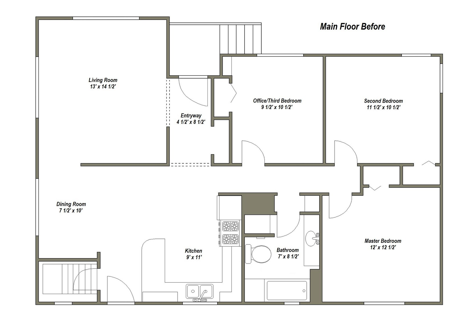 MAIN FLOOR PLAN AFTER (PROPOSED):