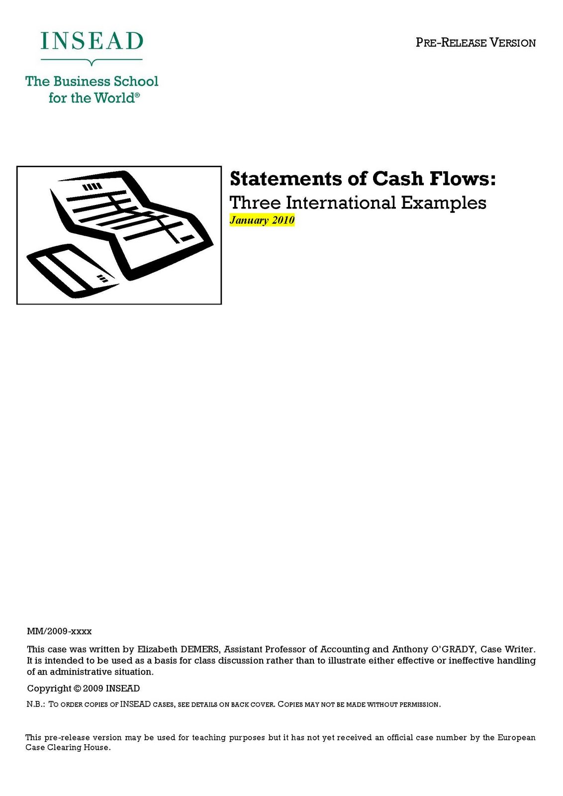 preparation of statement of cash flows