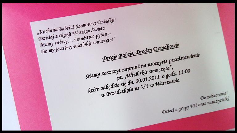 Zaproszenie Na Przedstawienie Z Okazji Dnia Babci I Dziadka
