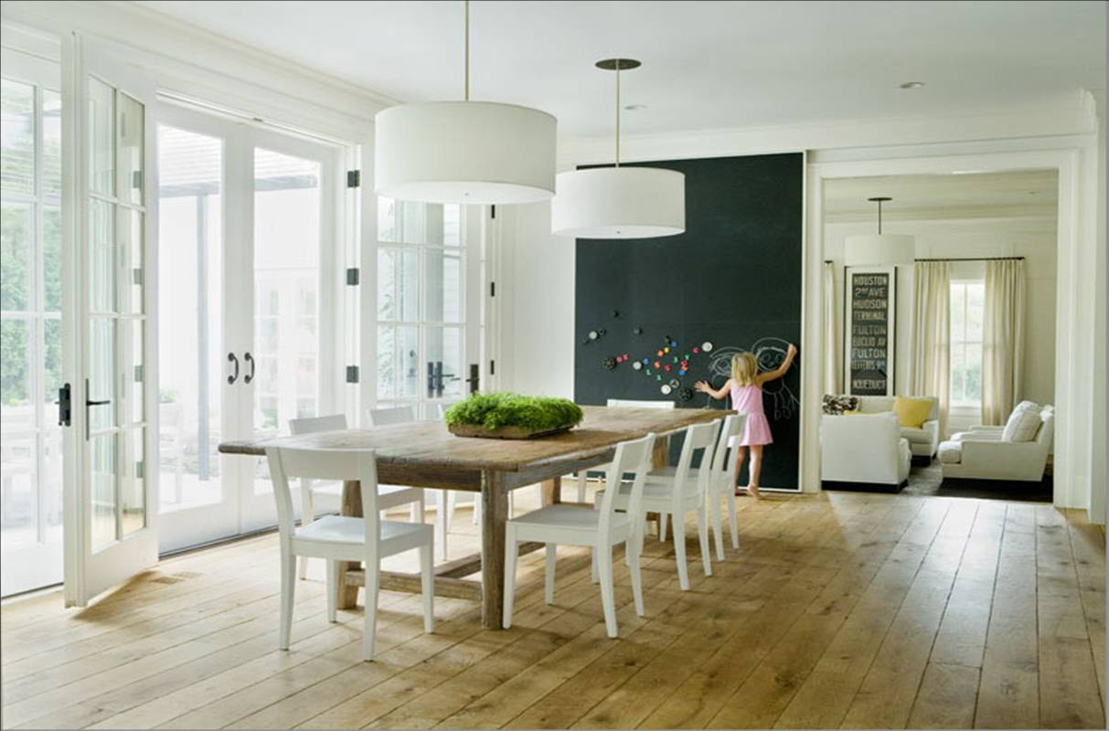 Grace: Wood Tables + White Chairs Light Fixture Over Dining Table. ...