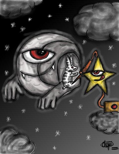 tatuajes de lunas y estrellas. luna tatuada. autor: choms garabatos del choms