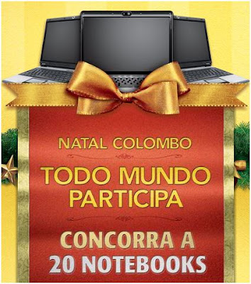 Promoção natal Colombo: sorteio de 20 notebooks