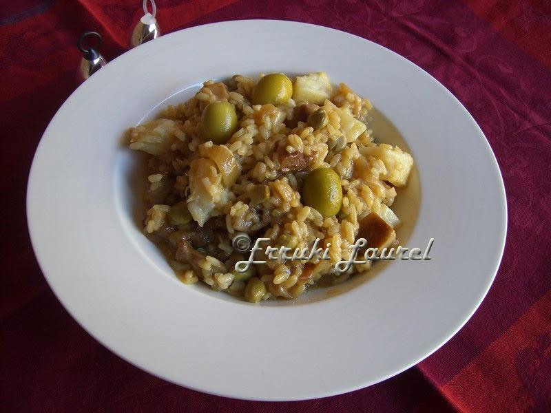 Erruki laurel arroz con bacalao y setas - Arroz con bacalao desmigado ...